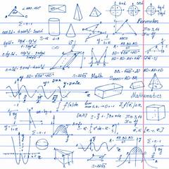 Math. Background with trigonometry formulas.