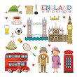 Vector England flat style art for travel and tourism