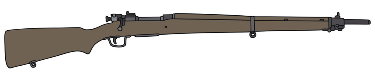 Hand drawing of an old military rifle