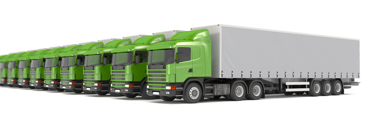 green cargo trucks parked in a row - shot 20