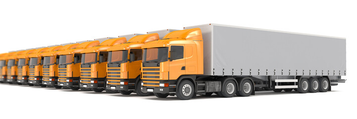 orange cargo trucks parked in a row - shot 24