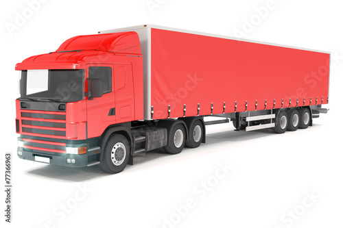 canvas print picture cargo truck - red - shot 01