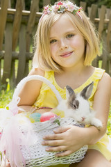 beautiful girl with a rabbit