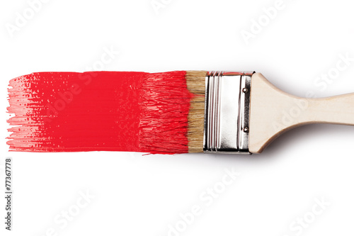 Paintbrush with red paint - 77367778
