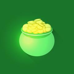 Pot full of gold coins