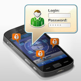Smartphone with message bubble about login. Dialog box