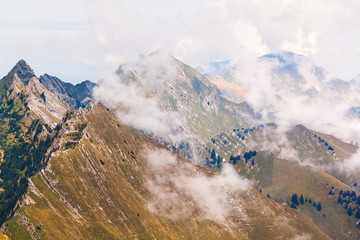 View of Alps and clouds at the Rochers de Naye,  Switzerland