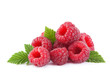 canvas print picture - Raspberry fruit with leaf