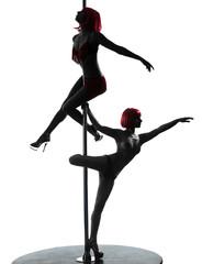 two women pole dancer silhouette