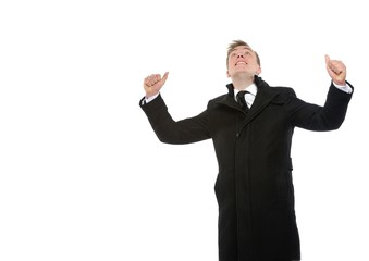 Happy businessman with arms up. Success context.