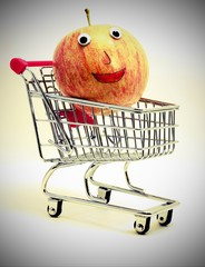 apple inside the shopping cart