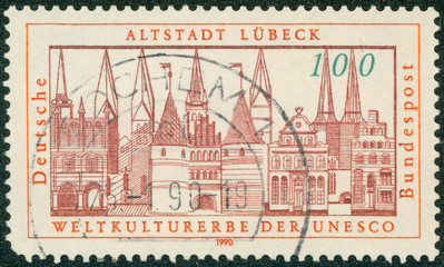 stamp printed in the Germany shows View of Lubeck
