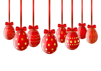 Set of red Easter eggs with ribbon