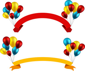 Celebrate ribbon backgrounds with balloons.