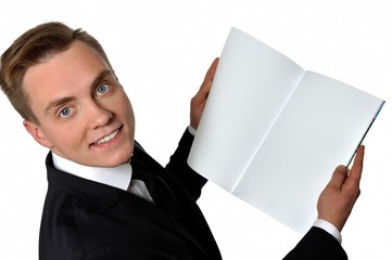 Businessman with magazine. Place your message on the magazine.