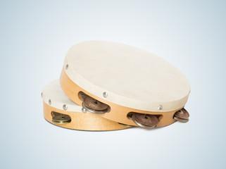 Closeup of two Turkish tambourines