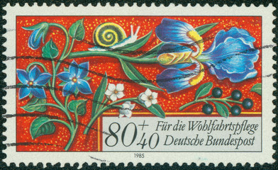 stamp printed in Germany, shows flowers
