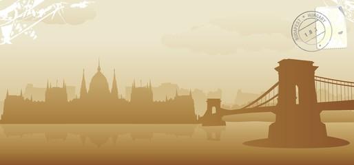 budapest skyline vector illustration