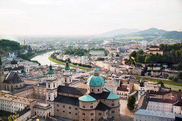 Beautiful panoramic view of Salzburg in the evening,  Austria