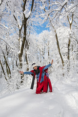 Young woman posing in snowy landscape