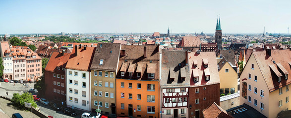 Panoramic cityscape of Nuremberg, Bavaria,  Germany