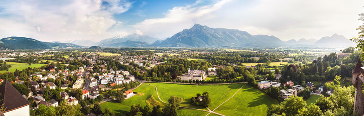 Panoramic view of Alps and Salzburg from Hohensalzburg,  Austria