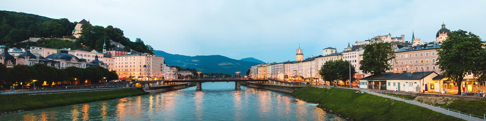 Beautiful panoramic view of Salzburg skyline, Austria