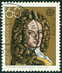 stamp printed in Germany shows Gottfried Wilhelm Leibniz