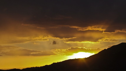 Dramatic sunset in the hills of Los Angeles