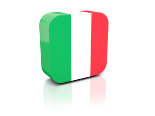 Square icon with flag of italy