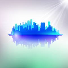 Abstract blue cityscape illustration