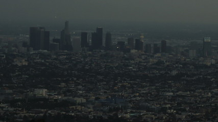Downtown Los Angeles Skyline as the sun falls