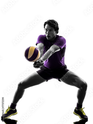 volley ball player man silhouette white background