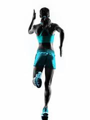 woman runner running jogger jogging rear view silhouette