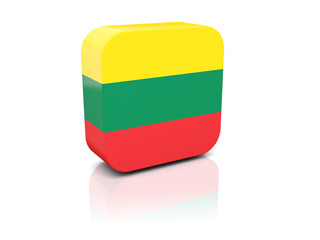 Square icon with flag of lithuania