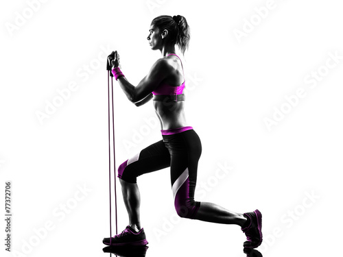woman fitness resistance bands exercises silhouette - 77372706