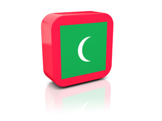 Square icon with flag of maldives