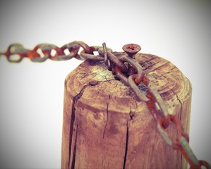 chain with the wooden pole