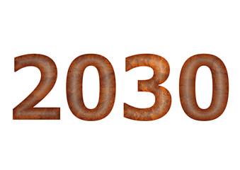 kahve renkli 2030 yazısı