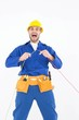 Repairman screaming while holding wires - 77374357