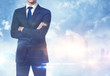 Businessman on megalopolis background