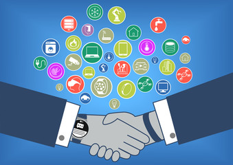 Hand shake with internet of things new technology in flat design