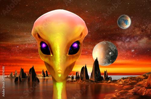 Foto op Canvas Baksteen 3d render of alien planet and alien.