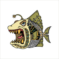 Piranha on a white background.