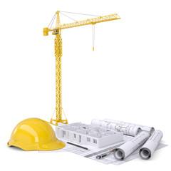 Apartment block under construction, crane, blueprints, drawing