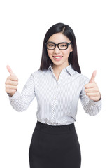 smile business woman show fingers . long hair model isolated .