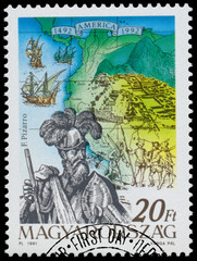 Stamp printed in Hungary shows Discovery of the New World