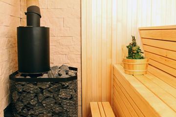 sauna interior with accessories