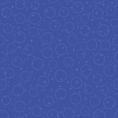 Blue seamless pattern with bubbles and stars, vector