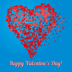 Valentine card with heart made of bubbles, vector illustration